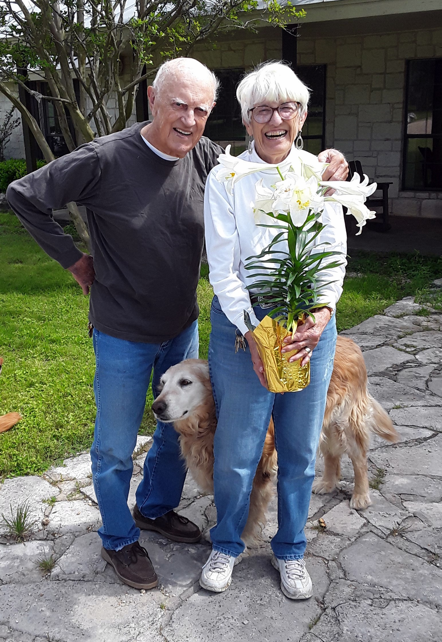 Bobbie and Gerry Pfeils with their faithful companion.